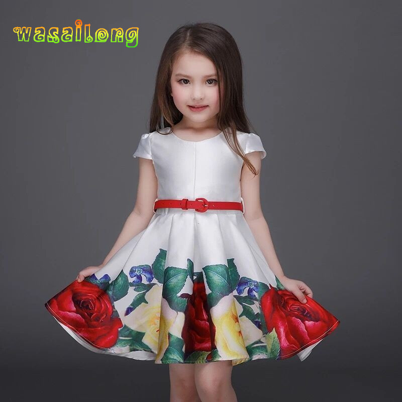 Retail 2017 NEW girls dress Presented a belt summer children s high end printing princess dress