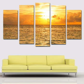 Bezinteresownie 5 panele/zestaw malediwy wschody i zachód słońca obraz Art obraz na płótnie plakaty druk na płótnie Wall obraz ozdobny