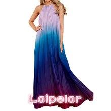 2b27ccb8930 2018 Sexy Women Backless Maxi Dress Ombre Pleated Sleeveless Summer Chiffon Dress  Halter Neck Long Boho