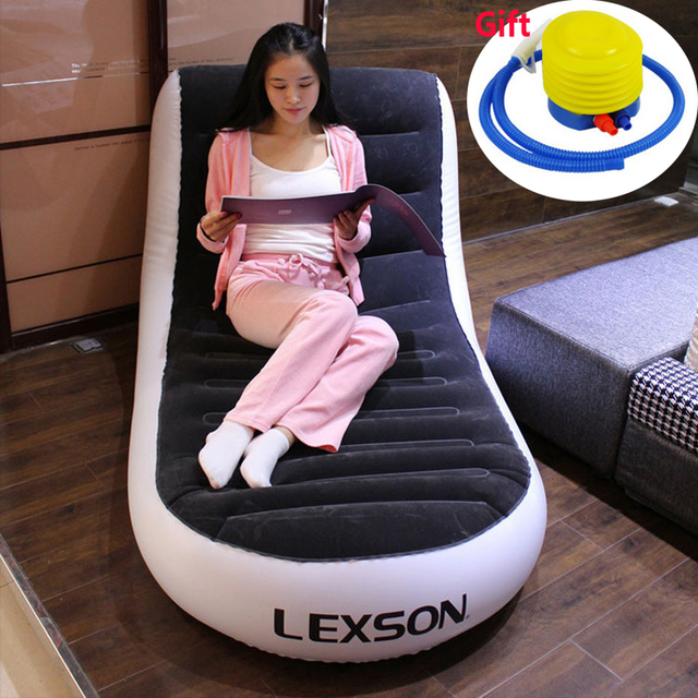 A,L-shape Foldable Chaise Lounge Chair Lazy sofa bed PVC flocking double inflatable sofa outdoor inflatable sofa 165*84*79