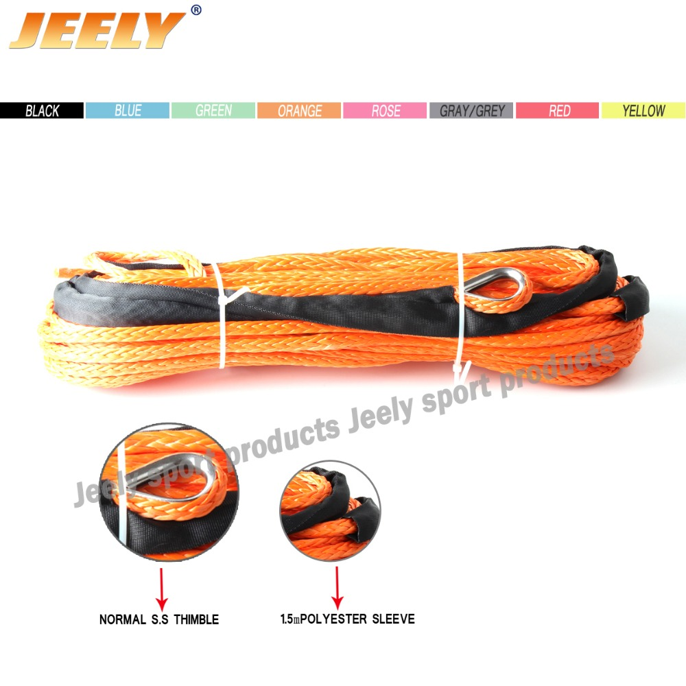 1/4''x50' 6mm*15m 12 strand off-road uhmwpe synthetic towing winch rope with 1.5m sleeve and thimble for ATV/UTV/SUV/4X4/4WD free shipping 10mm 30m 12 strand uhmwpe synthetic 4x4 atv winch rope with thimble