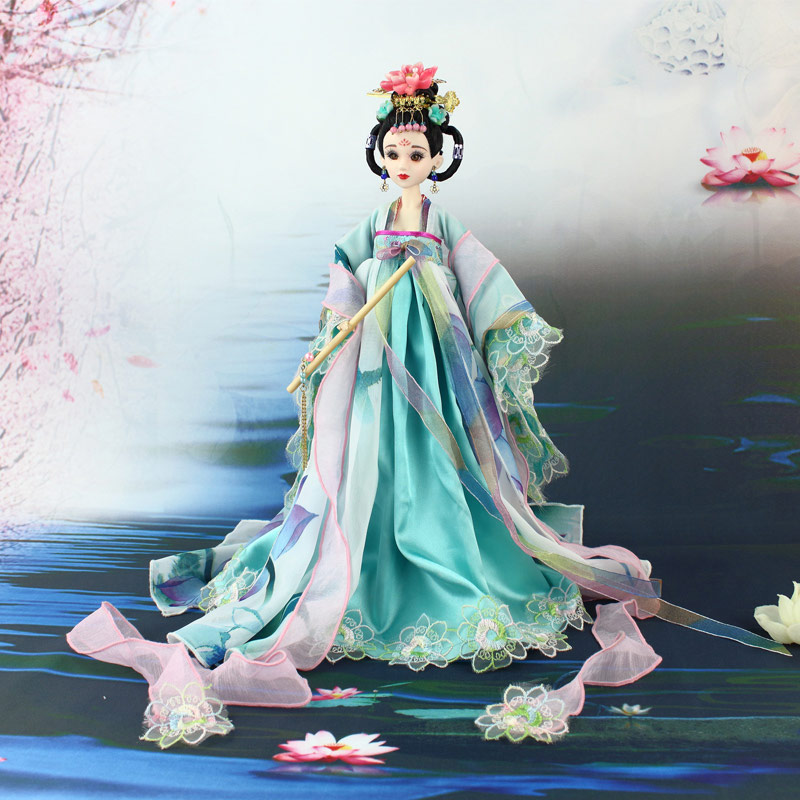 35cm Collectible Chinese Dolls Ancient Costume Summer Girl Dolls With 12 Joints Movable Vintage Season Series BJD Doll Toys Gift handmade ancient chinese dolls 1 6 bjd jointed doll empress zhao feiyan dolls girl toys birthday gifts