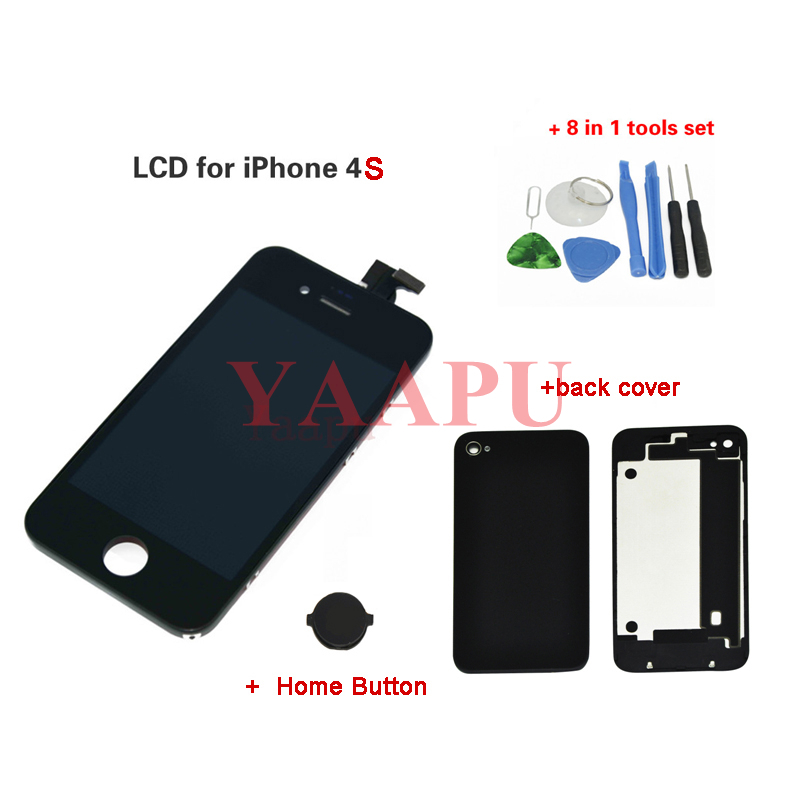 A quanlity for iphone 4s lcd Touch Screen digitizer Assembly+home button+back cover+repair set,black color