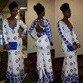 2016 традиционные африканские ткани длинный Клуб Вечернее платье для женщин Партии способа сексуальный белый халат печати bodycon платье 0086