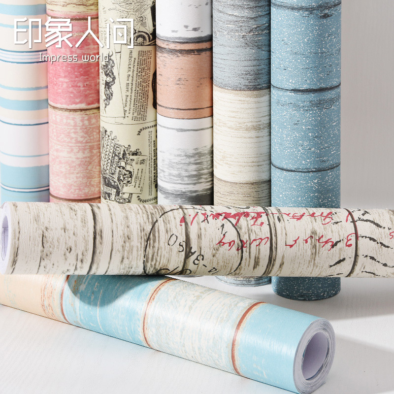 Striped imitation wood wallpaper adhesive waterproof wall stickers Wall of setting of the bedroom furniture renovated -580z new fine fabric texture wall of setting of the bedroom a study wallpaper of europe type style yulan wallpaper fashion pavilion