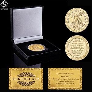 Американский Хранитель молитвы Archangel Святого Майкла патрона Святого правоохранительных органов Золотая монета W/Роскошная Монета коробка