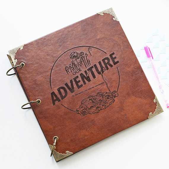Our Adventure Book Photo Album, Leather Scrapbook Album, Personalized Guest Book ,Instagram Photo Album image