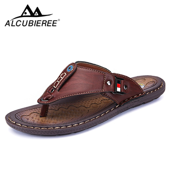 ALCUBIEREE Branded Men's Casual Shoes Made of Leather Sports Shoes for Men Slippers for  Slats 2018 Summer Shoes