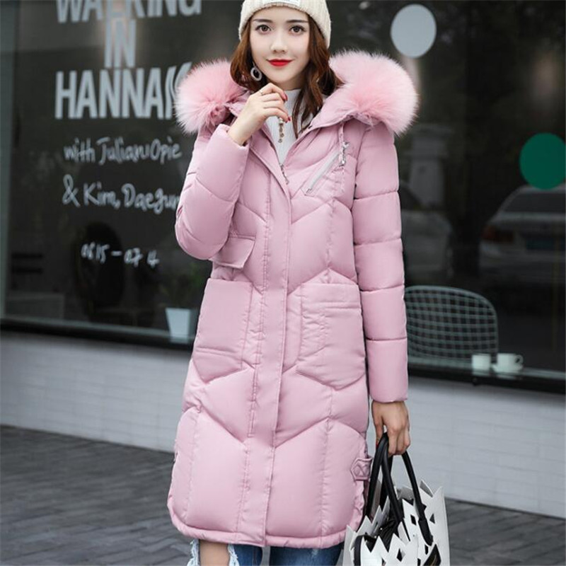 Women Coat Cotton Plus Size Long Jacket 2017 New Girls  Slim Hooded Warm Parkas Coat Female Outerwear Winter Jacket Pink A3856 2015 new hot winter thicken warm woman down jacket coat parkas outerwear hooded loose straight luxury brand long plus size xl