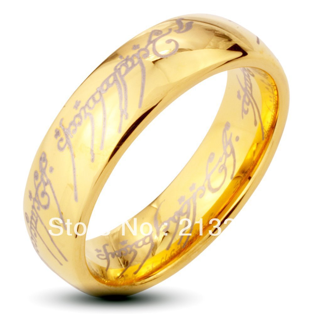 free shipping buy cheap discount price usa hot selling 6mm menwomens new golden dome the lord the lotr tungsten wedding rings - Lord Of The Rings Wedding Ring