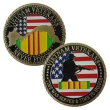 Американские военные ветераны Вьетнама 24 K позолоченная наградная монета/медаль 1061