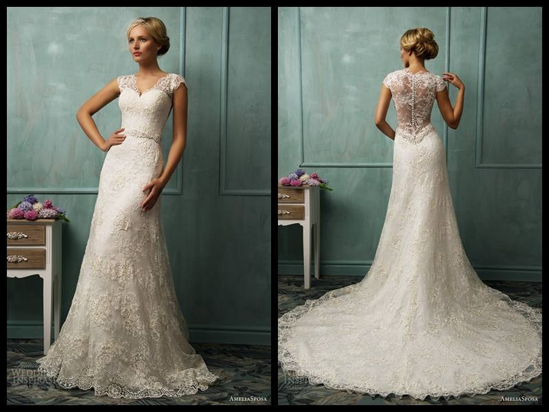 Amelia Sposa 2014 Latest V Neck Capple Sleeve Lace Gown