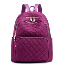 2019 New Casual Backpack Lingge Embroidery Line Travel Bag Nylon Waterproof Student Solid Color Trend