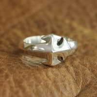 LINSION 925 Sterling Silver Simple Cross Ring Mens Biker Ring TA110 US Size 7~15