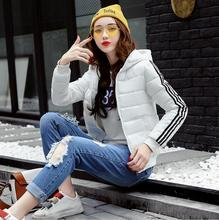 Winter Fashion Women Warm Color-blocking Striped Long Sleeve Hooded Parkas Casual Character Cotton Padded Short Slim Jacket Coat