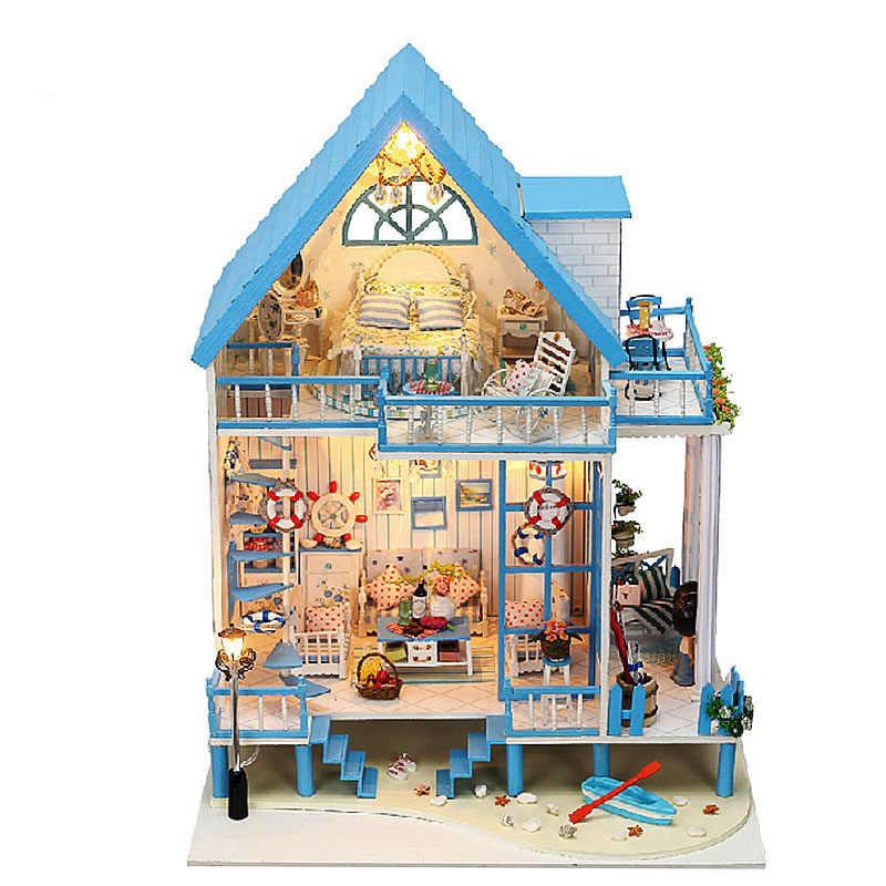 Iie создать Кукольный дом DIY Dollhouse миниатюрный домик на пляже с Мебель для куклы деревянный дом Игрушечные лошадки для детей подарок на день рождения