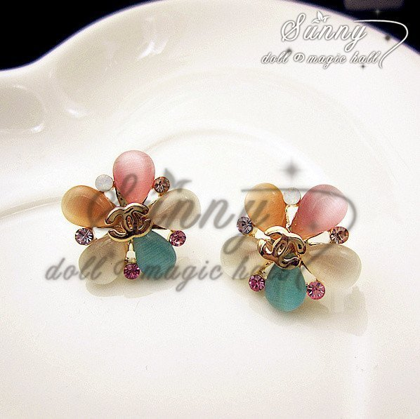 Min.order $10(mix order)Fashion Simple14K Rose Gold Plated Multicolour Flower Stud Earrings(RZ0020)