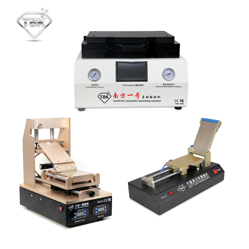 лучшая цена TBK LCD TBK-808 OCA Vacuum Laminator Machine+OCA Film Laminating Machine + Repair Equipment 3in1 Glue Remove Machine