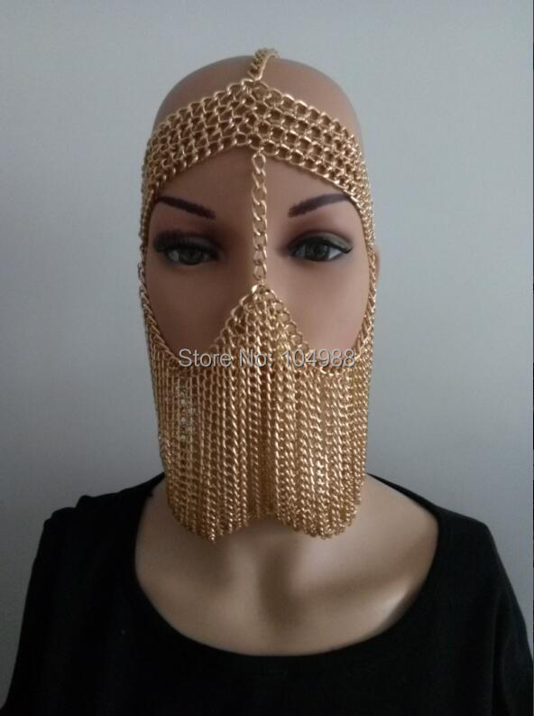 FREE SHIPPING NEW STYLE B734 Women Rock Harness Gold Plated Chains Layers Face Head Mask Chains 3 Colors B734 chain