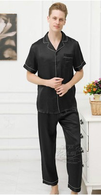 Cool Summer Natural 100 Mulberry Silkworm Silk Male Silk Pyjamas For Short Sleeves