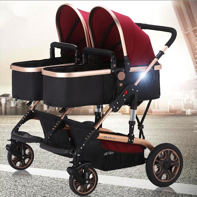 Alta Carrinhos de Bebê Gêmeos, Deluxe Carrinho de Bebê para Gêmeos com Bons Amortecedores e Cadeira Alta, Duplo Carrinho De Criança Sistema de Viagem do bebê
