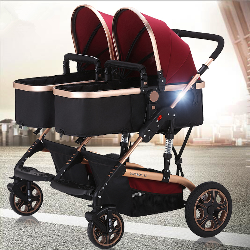 ФОТО high baby prams twins,deluxe baby stroller for twins with good shock absorbers and high chair,double stroller baby travel system