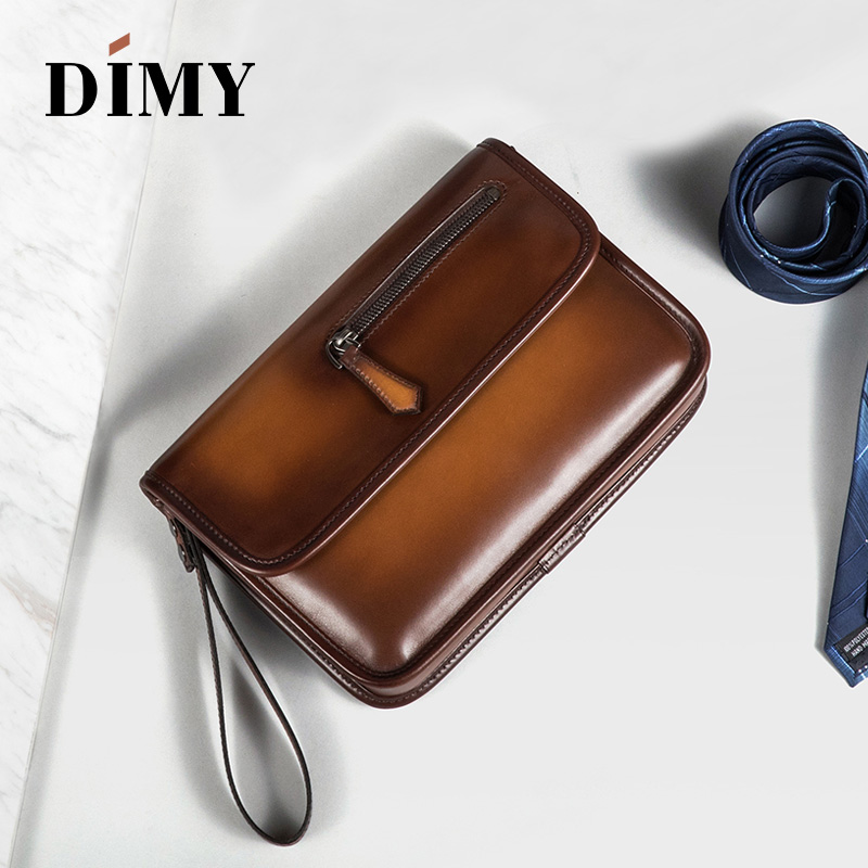 DIMY New Hand Patina Italian Calfskin Leather Clutch Men Handbags Genuine Leather Bags Document File Bag Flap Pocket Day Bag