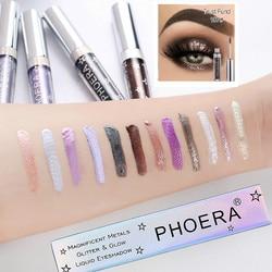 PHOERA-sombra de ojos de metal líquido, 16 colores, brillo mate, diamante, pigmento nacarado, brillo, maquillaje de ojos ahumado, Cosméticos TSLM2