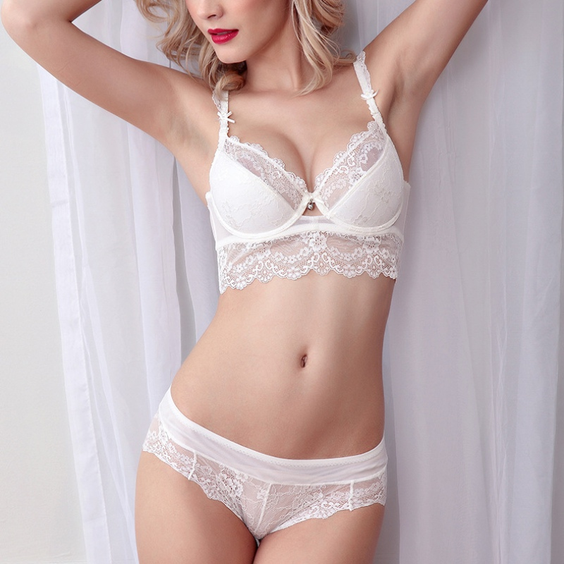 2017 Sexy Women Thin lace Underwear Push Up Side Support Bra Sets & Panty 32/34/36 B New
