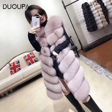 DUOUPA Natural Real Fox Fur Vest Natural Fur Coat For Jacket female coats Vest Waistcoat long Fur Coats Real Fur Coat Fox Vest J недорого