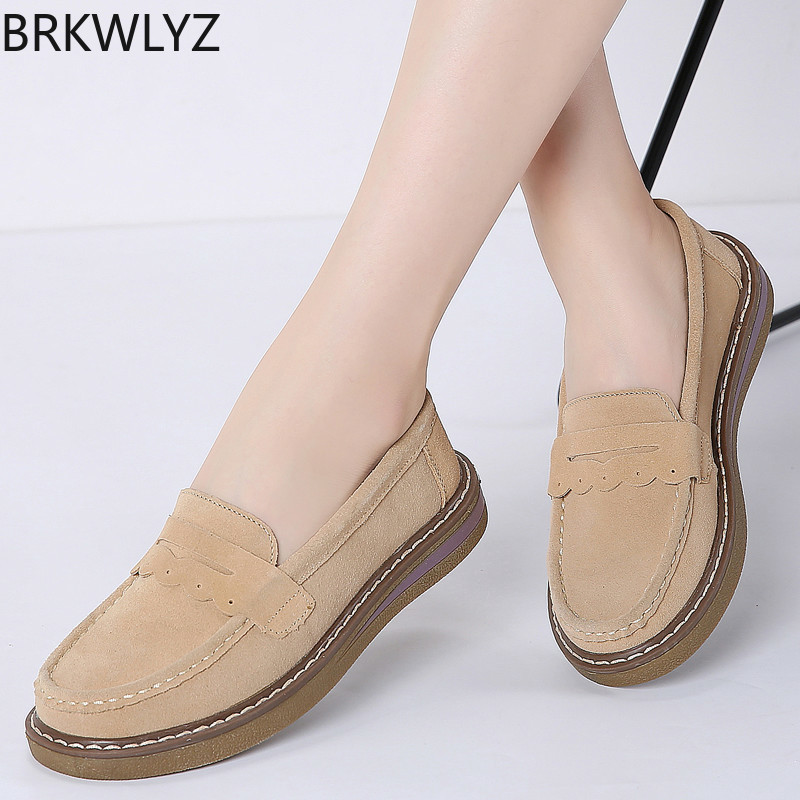 2019 Spring Women Loafers Flats Shoes Slip on   Leather     Suede   Chaussure Femme Ballerina Creeper Moccasins Flats Sneakers 3552