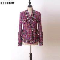 High Quality Winter Woolen Overcoat Women Slim Short Tweed jackets For Women V Neck Tassels Fashion ladies jackets And Coats