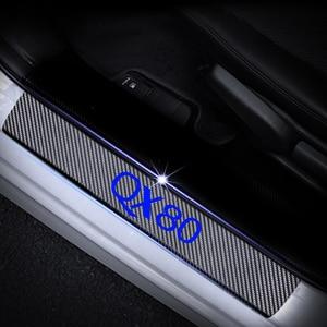 Image 3 - Carbon Fiber Vinyl Sticker Car Door Sills Door Threshold For Infiniti QX80 Door Entry Guard Door Sill Scuff Plate 4Pcs Auto Part