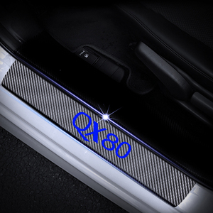 Image 3 - คาร์บอนไฟเบอร์ไวนิลสติกเกอร์รถประตู Sills ประตูเกณฑ์สำหรับ Infiniti QX80 ประตูยามประตู Sill Scuff แผ่น 4 pcs Auto Part