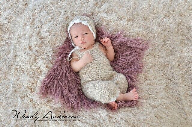 Новорожденный фотографии реквизит мохер крошечные цветы кружева капот и брюки набор