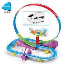 HUAILE DIY Järnvägsspår Track Boys Toy Elektrisk Railcar Set Modell Diecast Vehicles Assembly For Children Cars