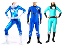 Free Shipping DHL Wholesale Adult Fantastic Four Men Women Costume Halloween Idea Super Hero Lycra Spandex Back Zip SPH125
