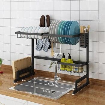 الفولاذ المقاوم للصدأ رفرف اطباق المطبخ U شكل بالوعة استنزاف رف طبقتين رف مطبخ لوازم المطبخ تخزين حامل
