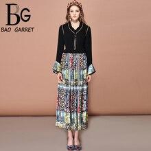 Baogarret 2019 Fashion Runway Summer vintage Dress Women's Sexy V-Neck Ruffled Flare Sleeve Print Ruched Long Dresses