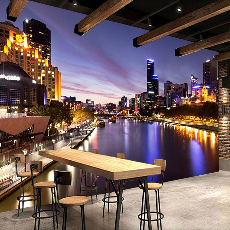 night living sunset cafe restaurant backdrop wall landscape 3d mural non decor zoom woven frescoes wallpapers