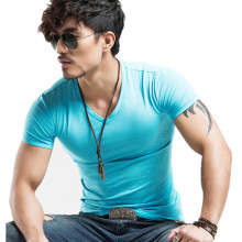 Elastic Casual V-Neck Men T-Shirts