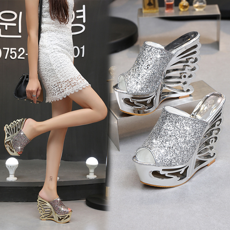 Image 3 - STAN SHARK Sexy High Heel Slope Gold Silver Personality Shaped Wedding Shoes Bridal Shoes 15 Cm Sandals Slippers-in High Heels from Shoes