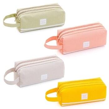 Portable 2 level Large Capacity Canvas Pencil Case Bag Pen Box Zipper Bags School Supplies Stationery Пенал