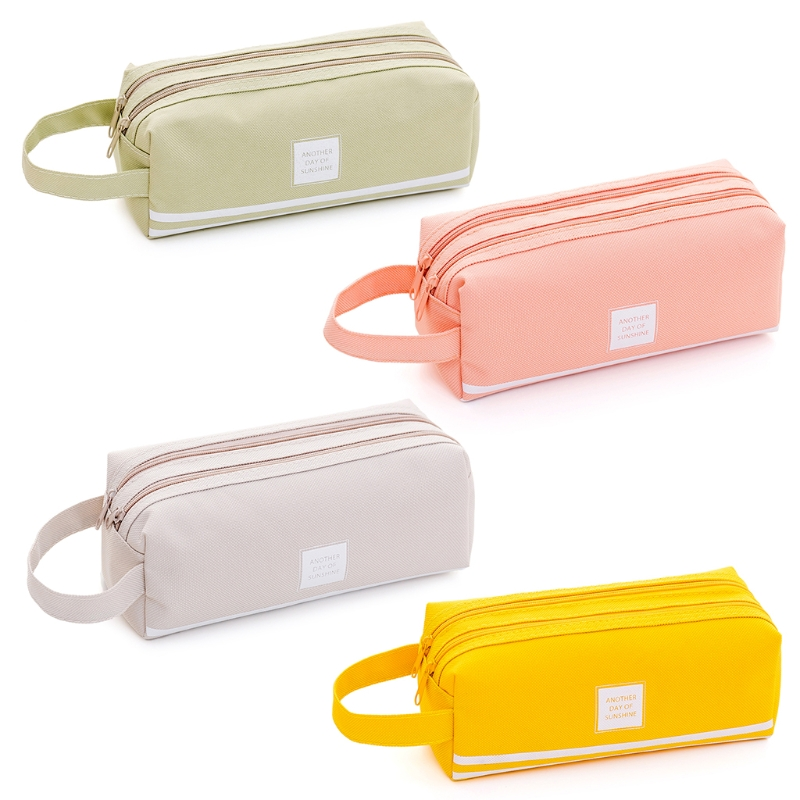Portable 2 level Large Capacity Canvas Pencil Case Bag Pen Box Zipper Bags School Supplies Stationery korean big zipper pencil bag large capacity canvas pencil case school stationery pen storage box material escolar supplies