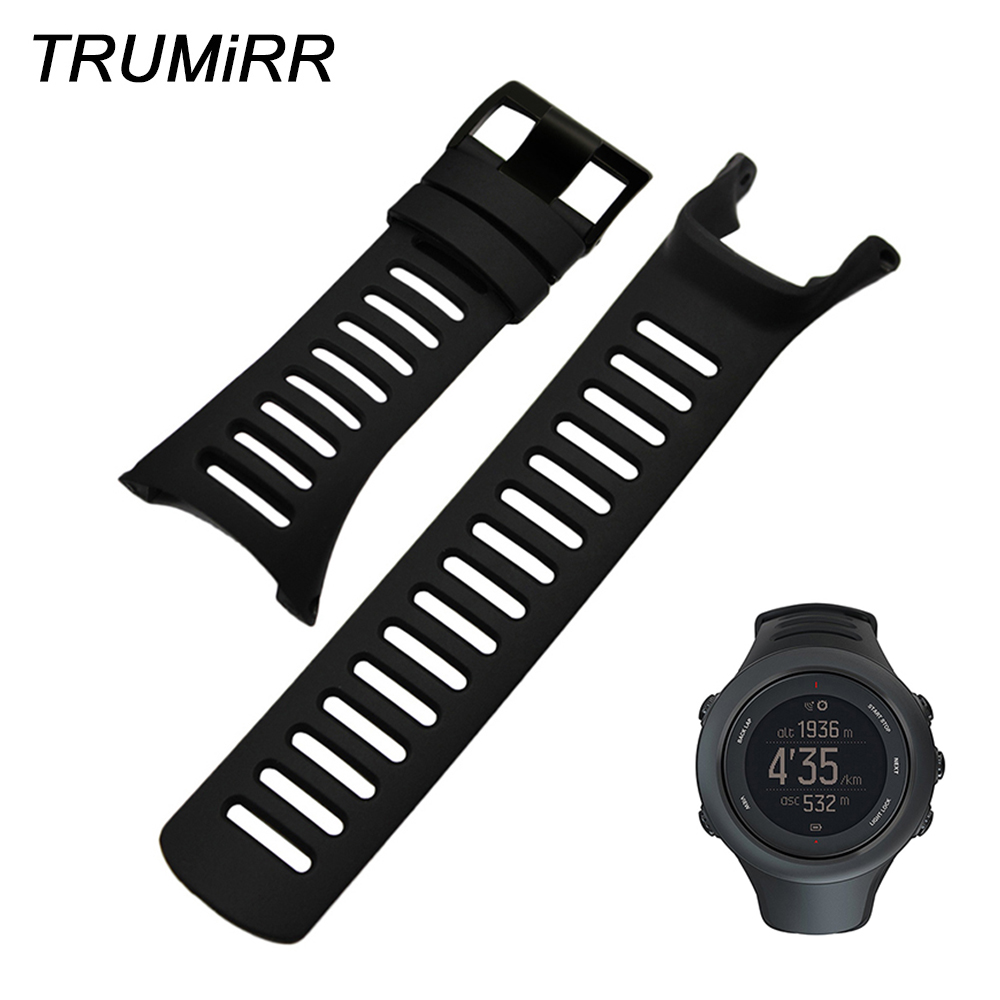 Silicone Rubber Watchband + Screwdriver for Suunto Ambit 1/2/2S/2R/3 Peak/Sport/Run Watch Band Black Steel Buckle Wrist Strap watch accessories for suunto ambit3s r 1 2 3 series 2s 2r 3s 3r series replacement strap