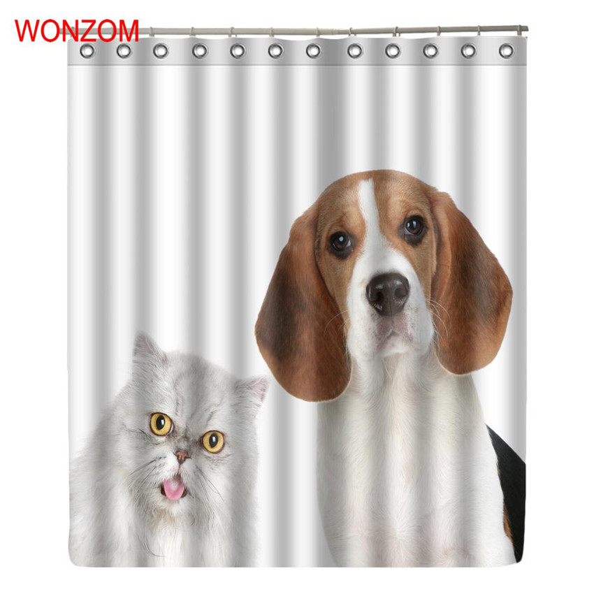 WONZOM Dog and Cat Shower Curtains with 12 Hooks For Mildewproof Bathroom Decor Modern Animal Bath Waterproof Curtain Gift