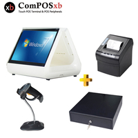 12 Inch Lcd Monitor Dual Screen POS Set With Cash Register 80MM Printer Scanner All In