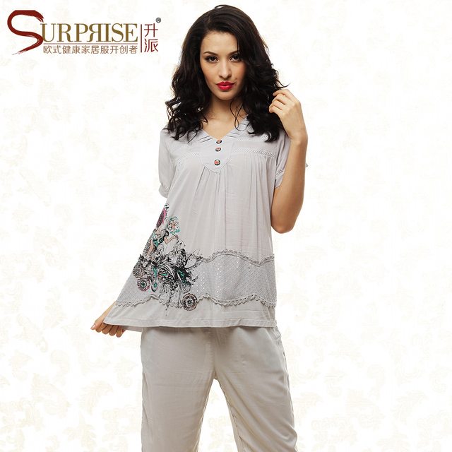 Alta Qualidade 2016 Verão Conjuntos de Pijama Pijamas para As Mulheres Tecido Breve Underwear Shorts Sleepwear Mulheres Salão Camisola Twinset