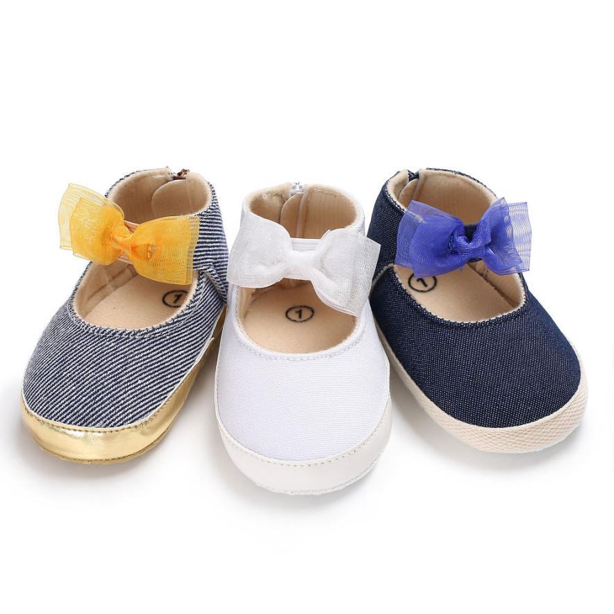 2017 newborn First Walker Toddler Baby Girls Cotton Infant Soft Sole Shoes Solid bottom Bebe Girls Butterfly-knot Shoes 17Dec7