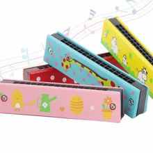 16 Holes Cute Harmonica Musical instrument Montessori Educational Toys Cartoon Pattern Kids Wind Instrument Children Gift(China)
